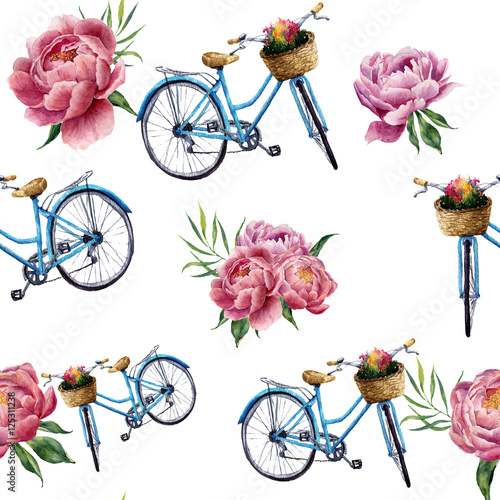 Cotton fabric Watercolor floral and bicycle seamless pattern on white background. Illustration for design, textile, print and background.