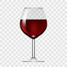 Transparent Wineglass With Red...