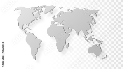 Blank Grey Abstract World Map With Shadow Template On Transparent ...