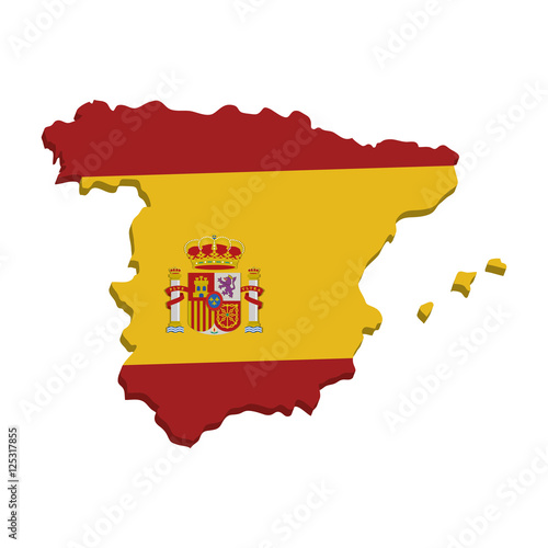 Fotografía  spain map geography isolated icon vector illustration design