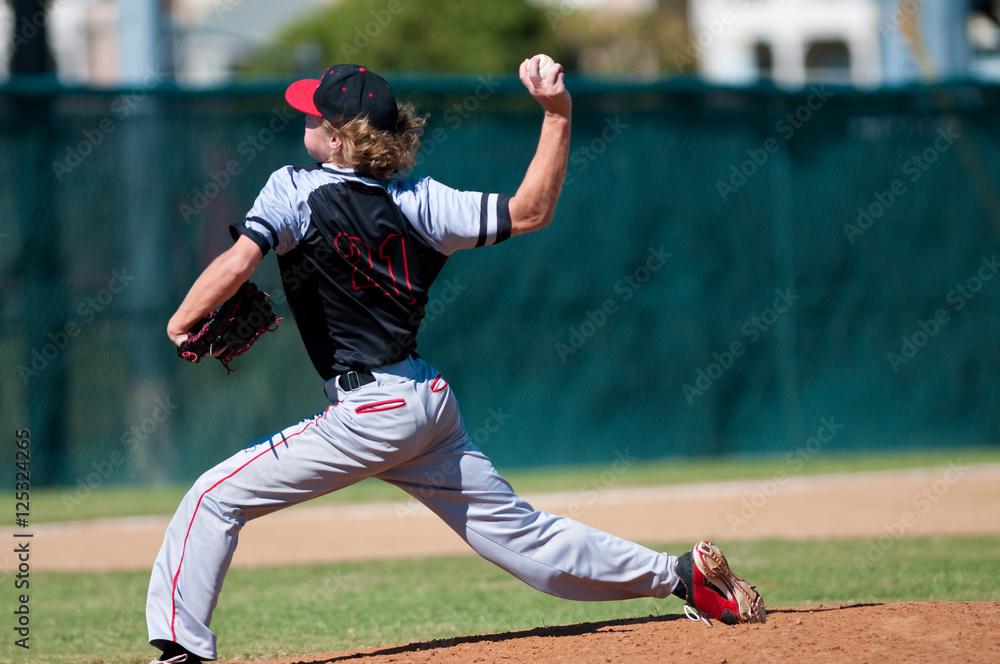 Fototapety, obrazy: High school baseball pitcher