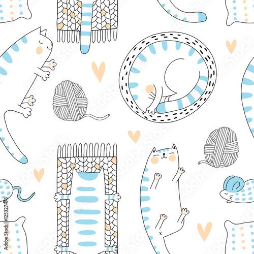 Lazy cats seamless pattern