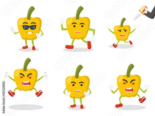 Deurstickers paprika cartoon set illustration design