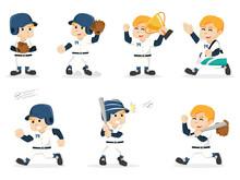Baseball Player Set Illustration Design