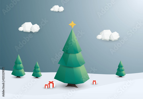Christmas Tree Illustration.Polygonal Outdoor Christmas Tree Illustration Buy This