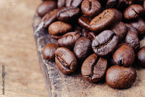 Canvas Prints Coffee beans Coffee Bean on wood background with filter effect retro vintage