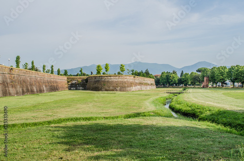 Foto op Canvas Olijf Entrance street in medieval fortress of Lucca, Puccini' s home t