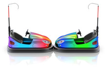 Side View Of Colorful Electric Bumper Car Over White Reflective Background
