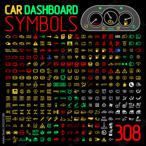 Photo vector collection of car dashboard panel indicators and warning lights