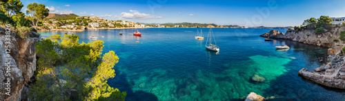 Aluminium Prints Panorama Photos Spain Coastline Panorama Mediterranean Sea Majorca Cala Fornells