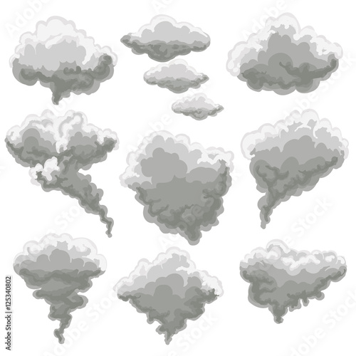Fotobehang Rook Cartoon smoke vector illustration. Smoking gray fog clouds on white background