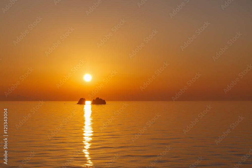 Fototapeta sunset in Aegean sea at Paros
