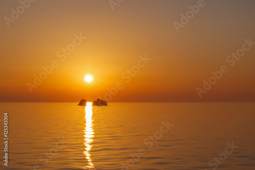 sunset in Aegean sea at Paros Tablou Canvas