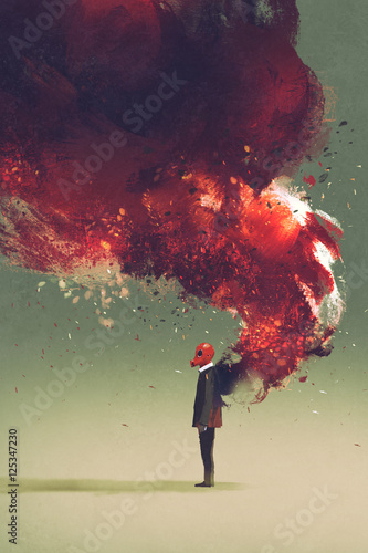 gas mask man standing with fire flame and smoke on his back,illustration paintin Slika na platnu