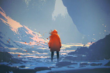 Naklejka rear view of woman with orange warm jacket standing in winter landscape,illustration painting