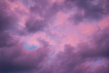 Colorful Skyscape With Purple Clouds At Sundown Twilight