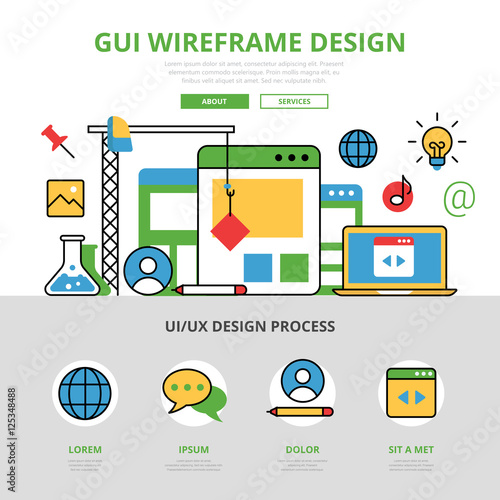 Linear flat infographics template vector  GUI wireframe