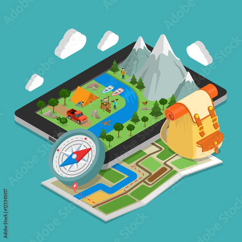 Flat 3d isometric mobile GPS navigation maps concept vector