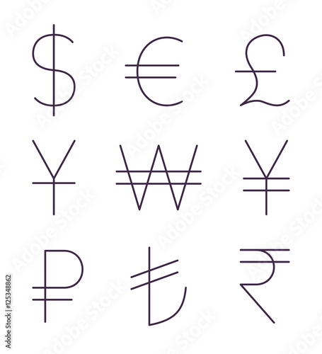 Fotografía  Set of thin currency signs. Vector icons set