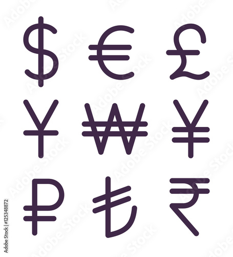 Cuadros en Lienzo  Set of bold currency signs. Vector icons set