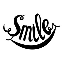 Hand Drawn Lettering Word Smile