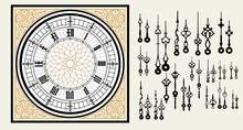 Vintage Clock Dial With Set Hands In The Victorian Style. Vector Editable Template