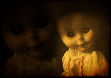 Grunge Background With Vintage Evil Spooky Doll With Zipped Mout