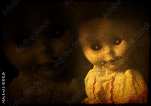 Obraz na plátně Grunge background with vintage evil spooky doll with zipped mout