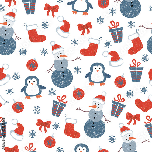 Cotton fabric Seamless Christmas pattern with doodle decorative elements and cute characters. Vector holiday background.
