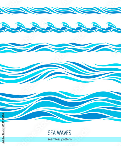 Wall Murals Abstract wave Set of seamless patterns with stylized waves