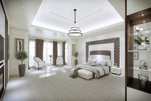 Modern Bedroom Interior With Large Windows From Floor To Ceiling