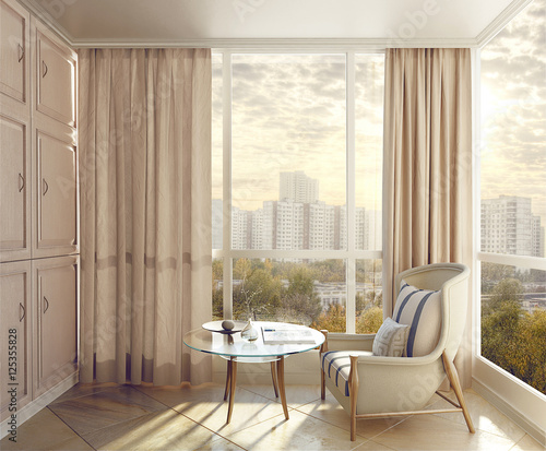 Bedroom seating area in sunlight with views of the city. 3d illu Canvas Print