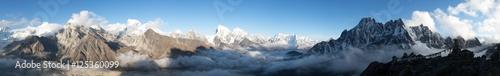 Foto op Plexiglas Panoramafoto s panorama of Mount Everest, Lhotse, Makalu and Cho Oyu