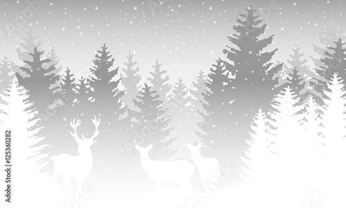 Foto-Doppelrollo - Wald im Winter mit Rentieren - Grau (von ii-graphics)