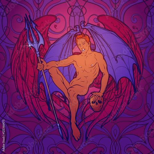 mlody-seksowny-demon-z-nietoperzy-skrzydlami-siedzi-trojze-i-ludzka-czaszke-i-trzyma-pinup-i-secesyjny