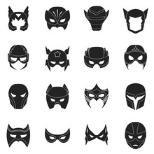 Superhero Mask Set Icons In Bl...