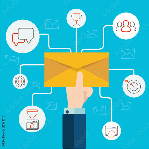 Concept of email advertising, direct digital marketing Human hand holding an env Poster