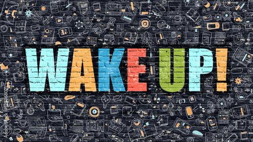 Cuadros en Lienzo Multicolor Wake Up on Dark Brickwall. Doodle Style.