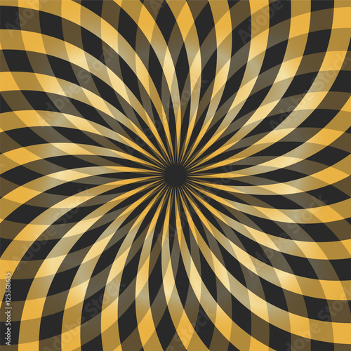 Poster Magie Vector Illustration. Golden and Black Transparent Wavy Intersecting Stripes Expanding from the Center. Geometric Abstract Background. Suitable for textile, fabric, packaging and web design.