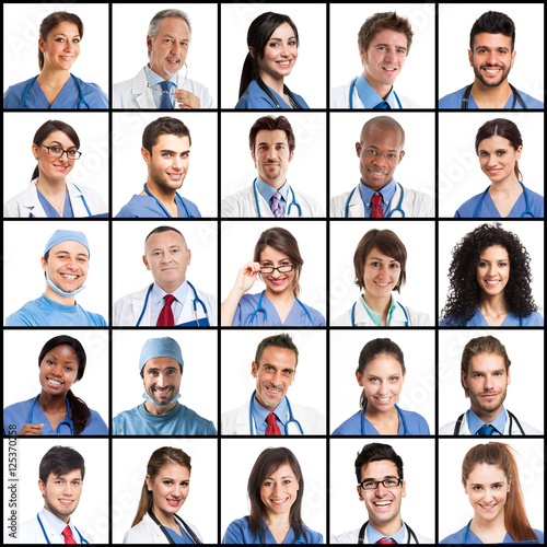 Fototapeta Large collection of doctors faces obraz
