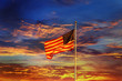 canvas print picture - American flag in front of bright sky