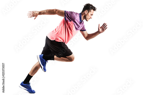 Fotografía  man runner jogger running isolated