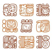 Maya Glyphs, Writing System And Languge Vector Design