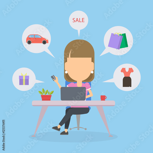 c391f800641 Online shopping concept. Young woman sitting at the desk with laptop and  doing shopping. Sale