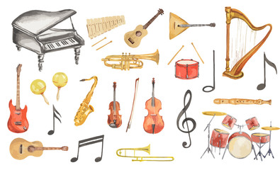 Fototapeta Watercolor musical instruments set. All kinds of instruments like piano, saxophone, trumpet, drums and others.
