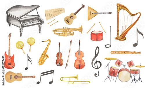 Fotografía Watercolor musical instruments set