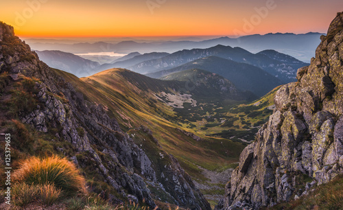 Mountain Landscape in Colourful Sunset Canvas