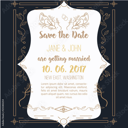 Papiers peints Affiche vintage Printable Save the date with geometricgold frame in linear style. element for design with leaves, tree and birds.