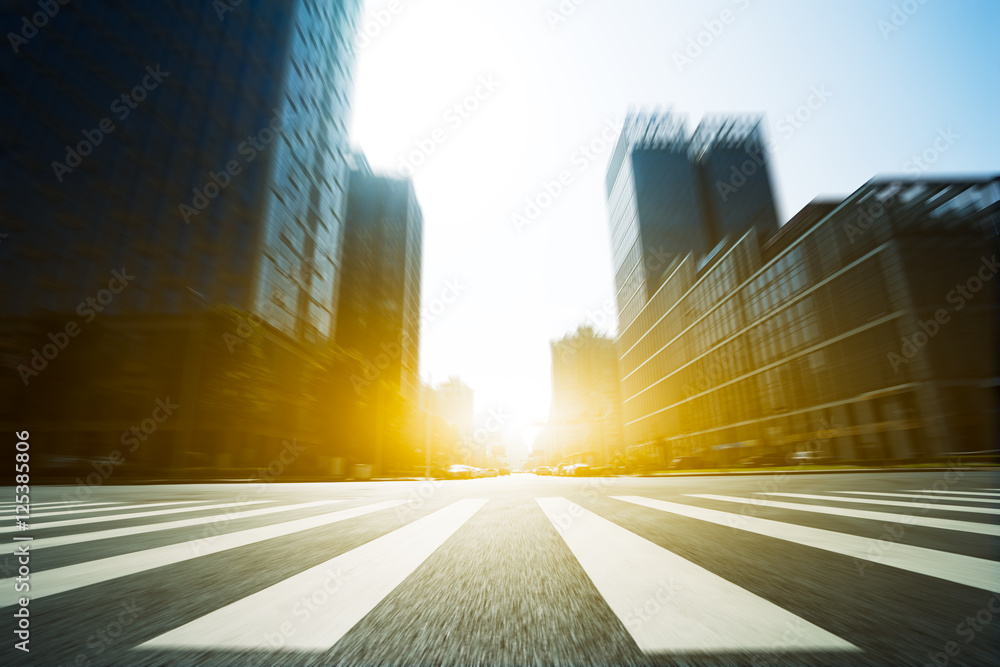 Fototapety, obrazy: blur road and modern office buildings in hangzhou with sunbeam
