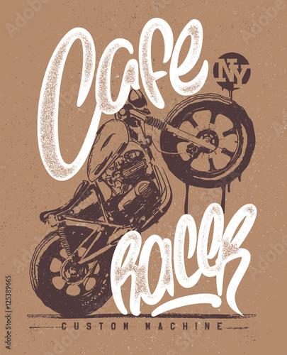 Tableau sur Toile Cafe racer Vintage Motorcycle hand drawn t-shirt print